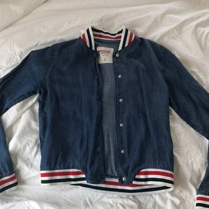 Jean jacket- red, white, blue sleeves